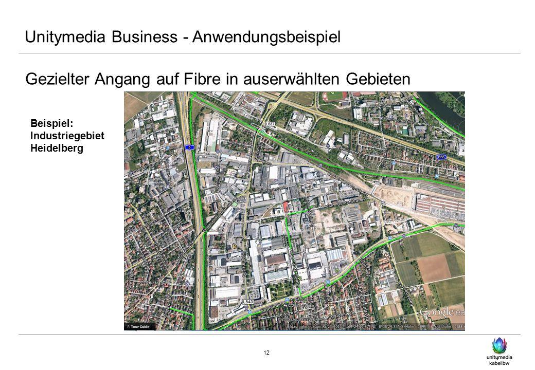 12 Unitymedia Business - Anwendungsbeispiel Gezielter Angang auf Fibre in auserwählten Gebieten Beispiel: Industriegebiet Heidelberg