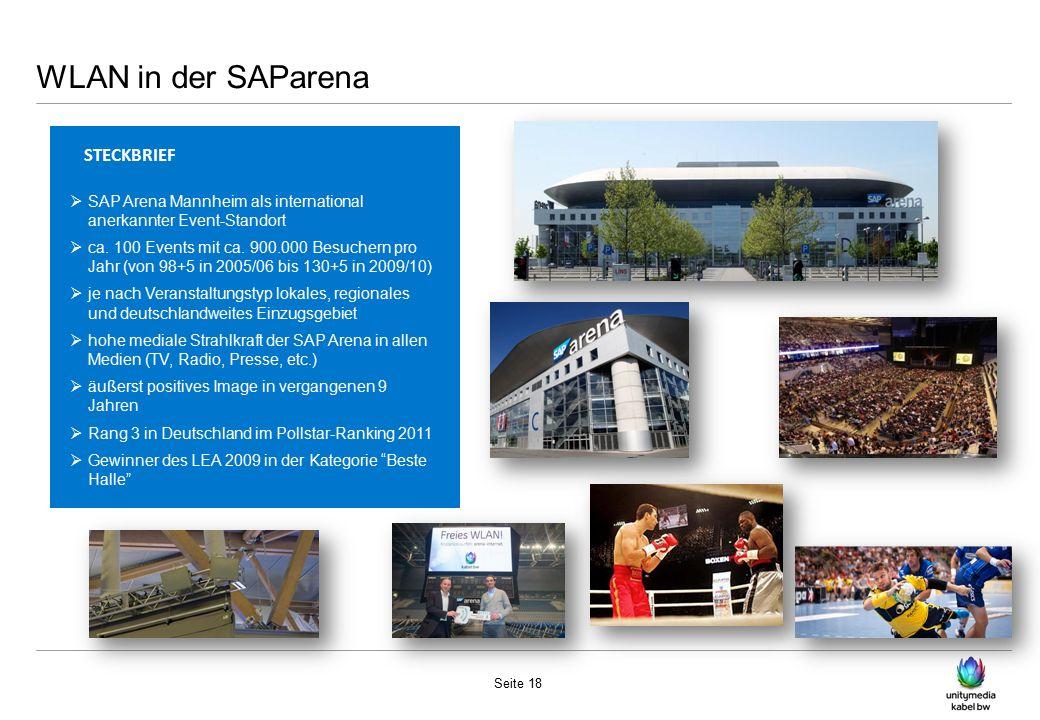 WLAN in der SAParena Seite 18 STECKBRIEF  SAP Arena Mannheim als international anerkannter Event-Standort  ca.