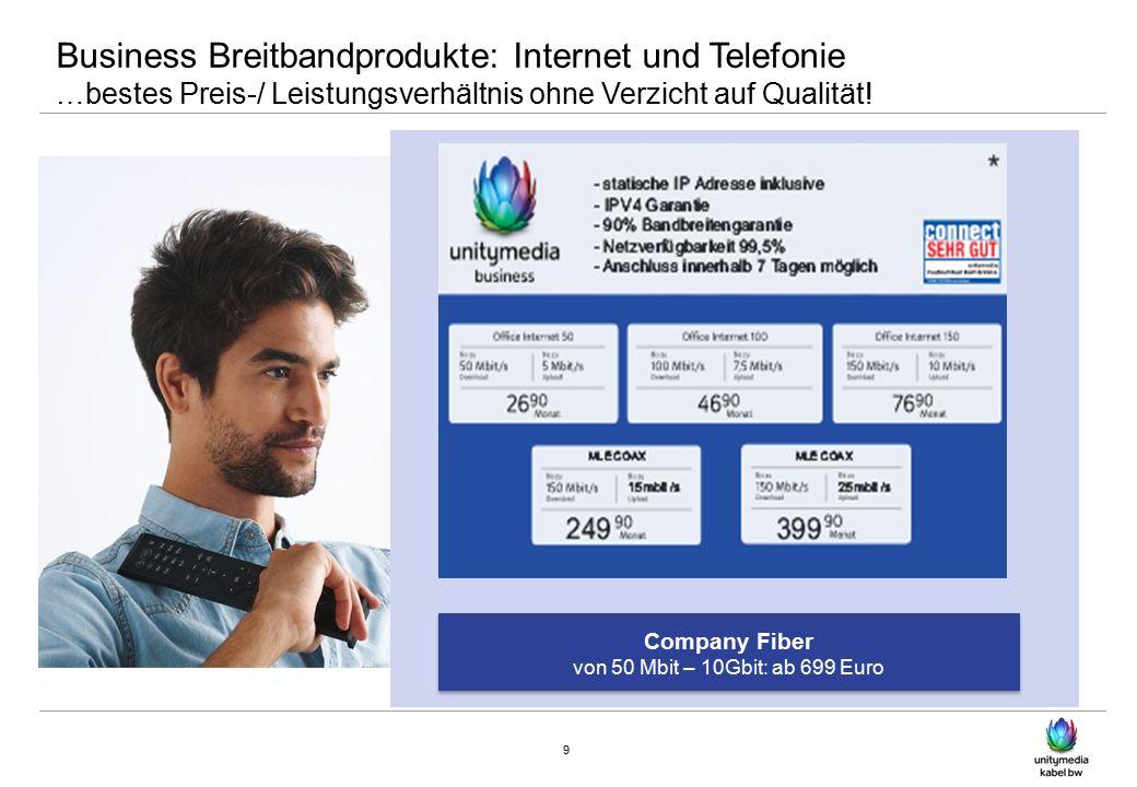 Business Breitbandprodukte: Internet und Telefonie …bestes Preis-/ Leistungsverhältnis ohne Verzicht auf Qualität.