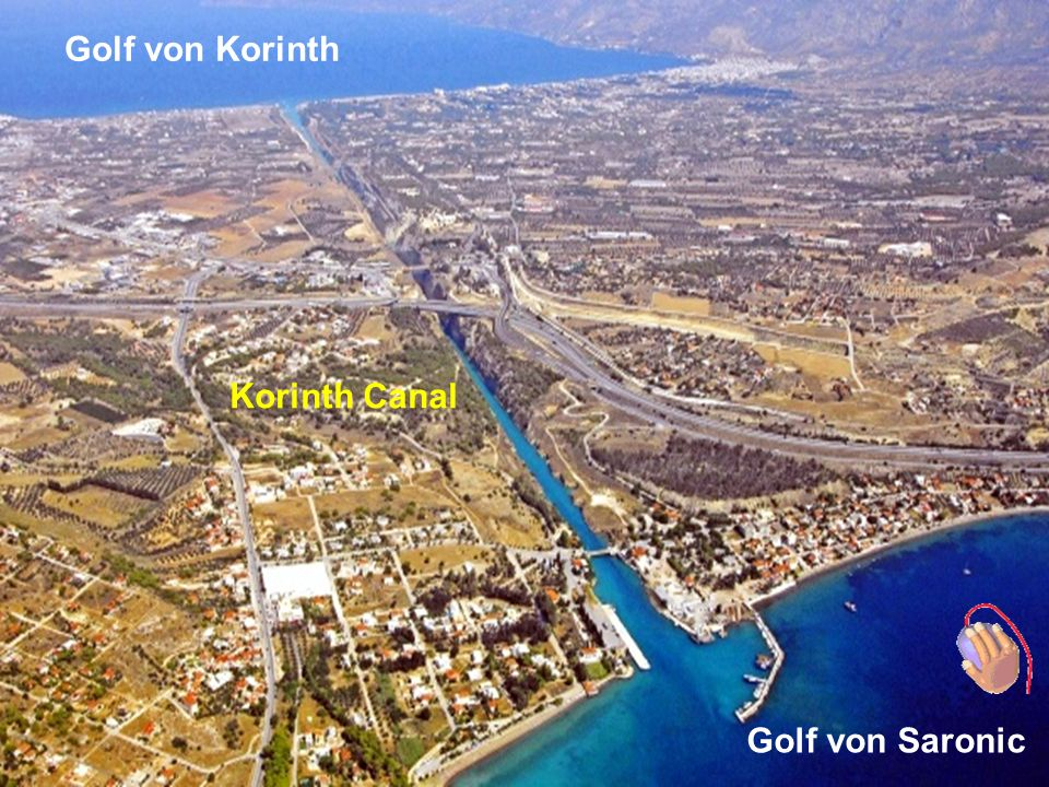 Corinth Canal, is a man made canal connecting Ionian Sea and Corinthian Gulf with Saronikos and Aegean Sea.