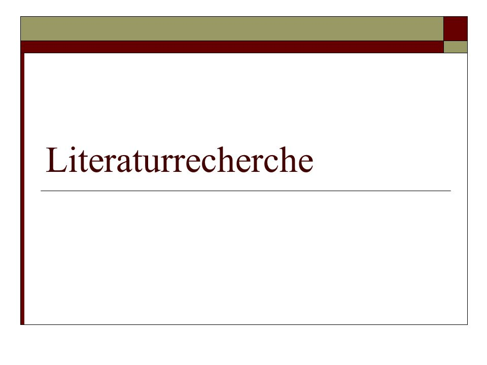 Literaturrecherche