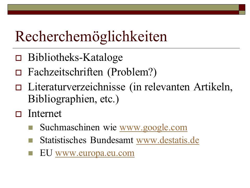 Recherchemöglichkeiten  Bibliotheks-Kataloge  Fachzeitschriften (Problem )  Literaturverzeichnisse (in relevanten Artikeln, Bibliographien, etc.)  Internet Suchmaschinen wie www.google.comwww.google.com Statistisches Bundesamt www.destatis.dewww.destatis.de EU www.europa.eu.comwww.europa.eu.com