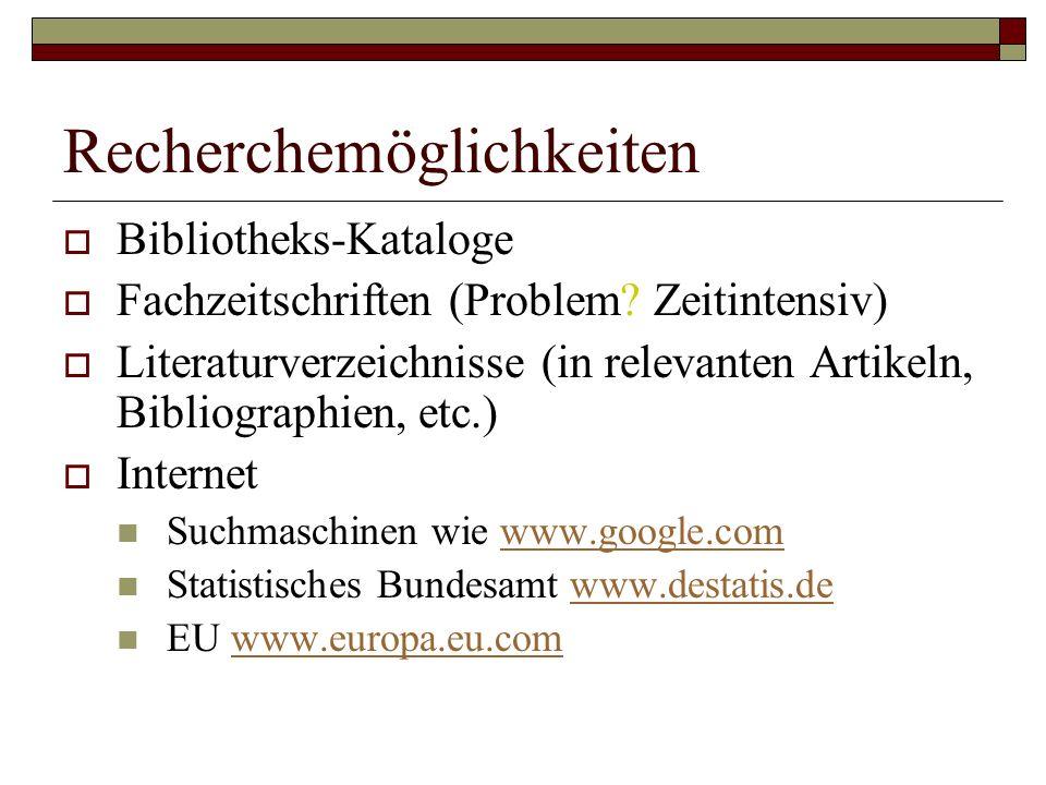 Recherchemöglichkeiten  Bibliotheks-Kataloge  Fachzeitschriften (Problem.