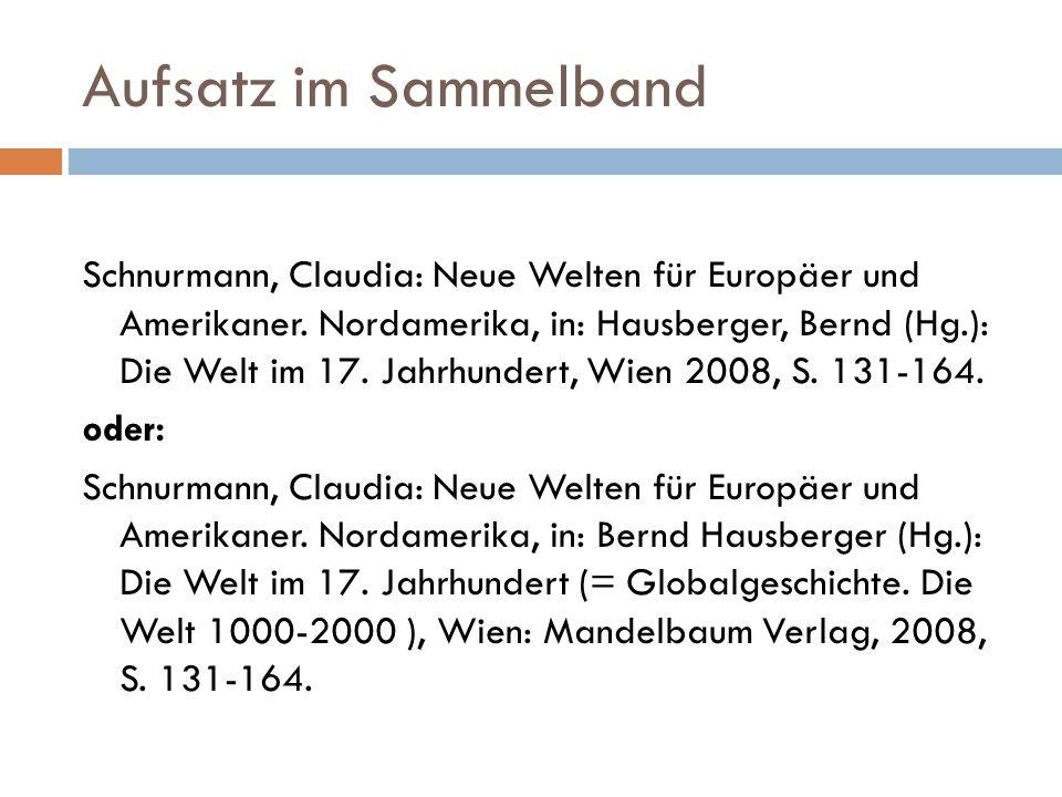 Aufsatz im Sammelband Schnurmann, Claudia: Neue Welten für Europäer und Amerikaner.