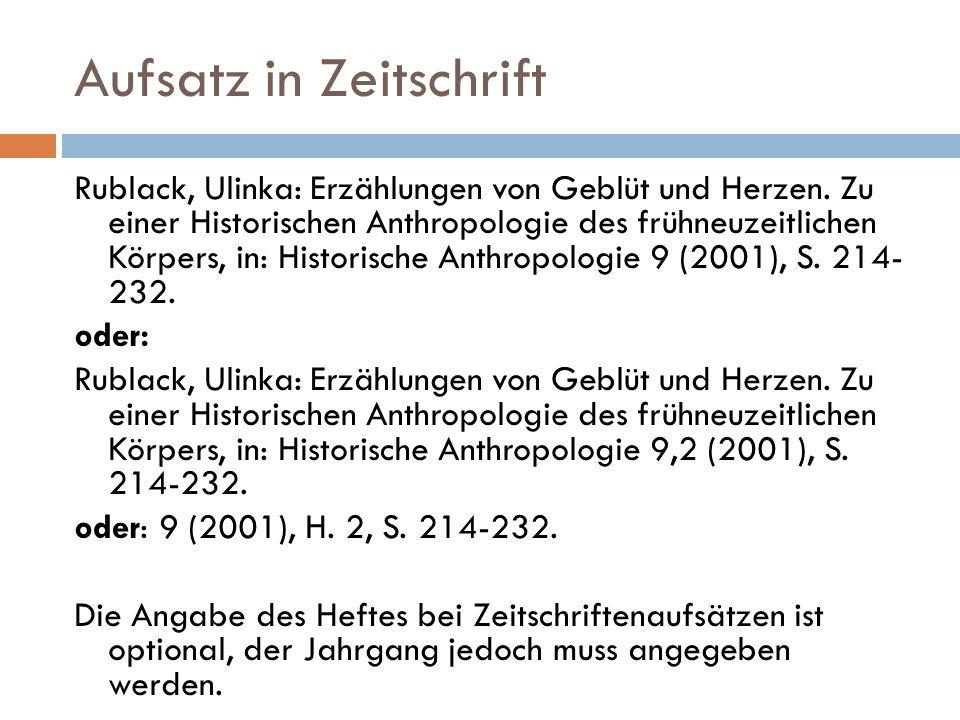 Aufsatz in Zeitschrift Rublack, Ulinka: Erzählungen von Geblüt und Herzen.