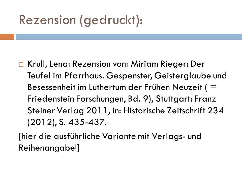 Rezension (gedruckt):  Krull, Lena: Rezension von: Miriam Rieger: Der Teufel im Pfarrhaus.