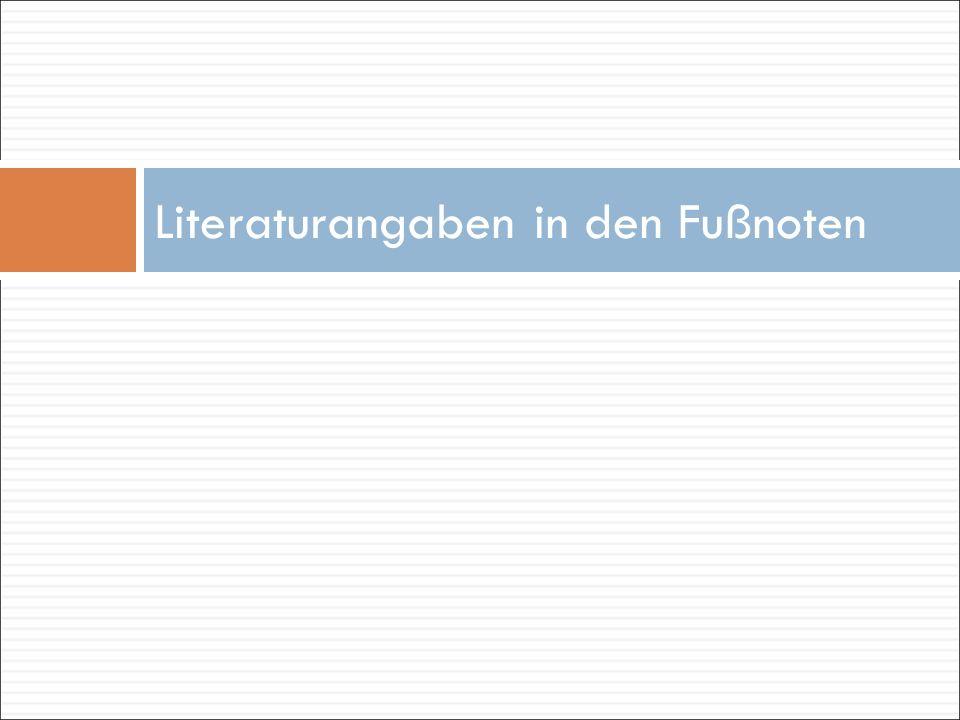 Literaturangaben in den Fußnoten