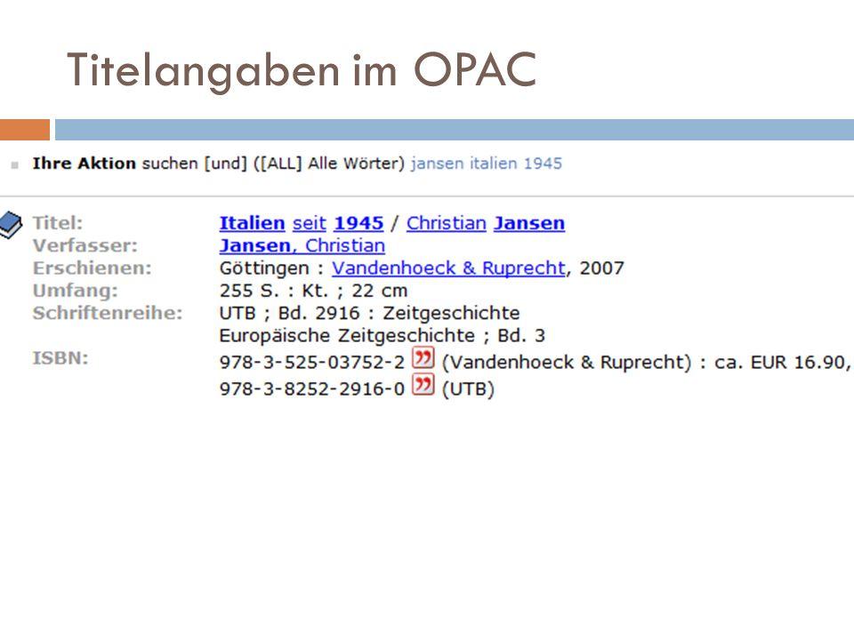 Titelangaben im OPAC
