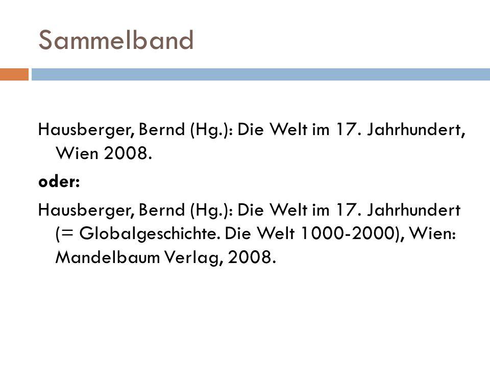 Sammelband Hausberger, Bernd (Hg.): Die Welt im 17.