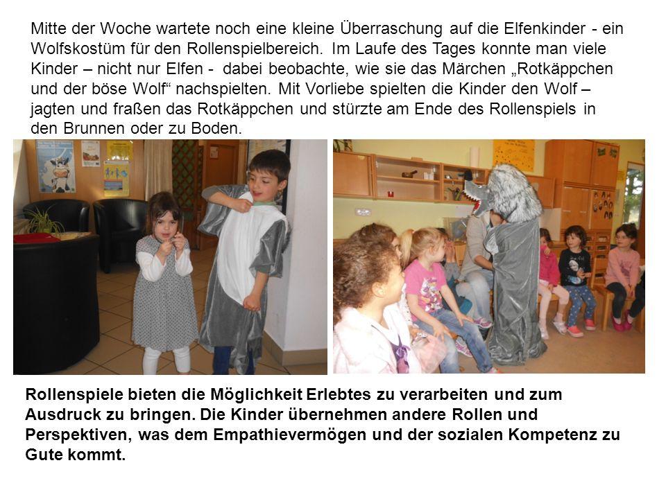 Mitte der Woche wartete noch eine kleine Überraschung auf die Elfenkinder - ein Wolfskostüm für den Rollenspielbereich.