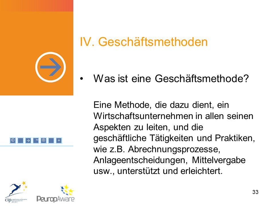 33 IV. Geschäftsmethoden Was ist eine Geschäftsmethode.