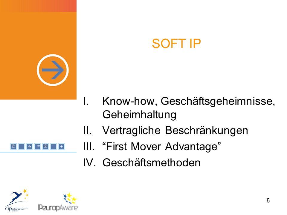 5 SOFT IP I.Know-how, Geschäftsgeheimnisse, Geheimhaltung II.Vertragliche Beschränkungen III. First Mover Advantage IV.Geschäftsmethoden