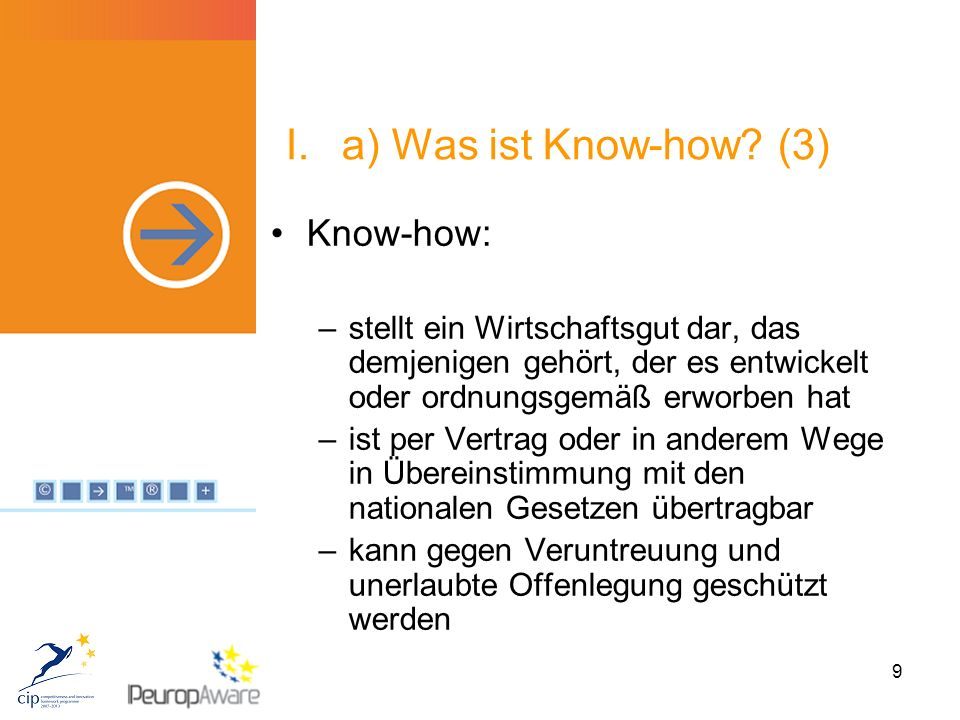 9 I.a) Was ist Know-how.