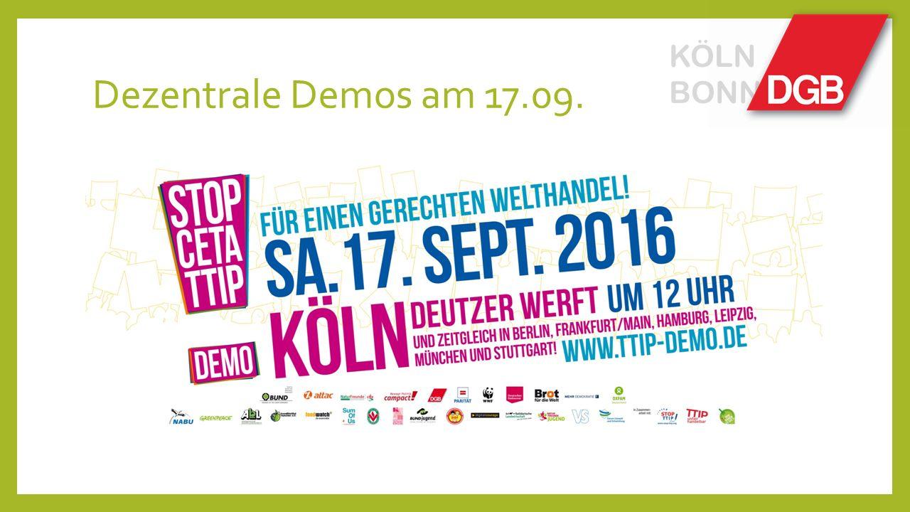 Dezentrale Demos am 17.09. KÖLN BONN