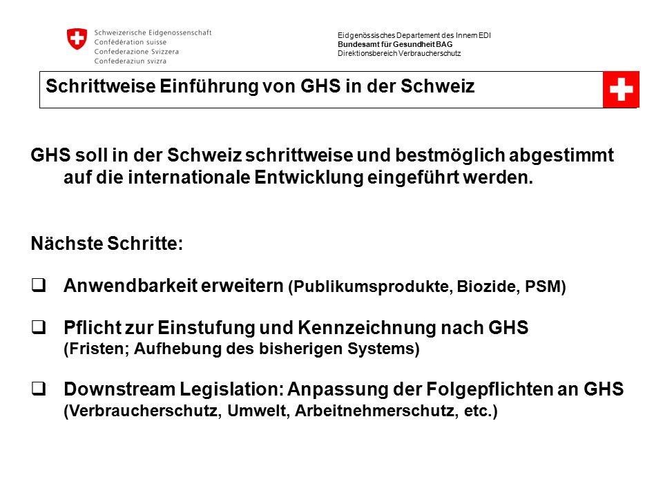 Eidgenössisches Departement des Innern EDI Bundesamt für Gesundheit BAG Direktionsbereich Verbraucherschutz Schrittweise Einführung von GHS in der Schweiz GHS soll in der Schweiz schrittweise und bestmöglich abgestimmt auf die internationale Entwicklung eingeführt werden.