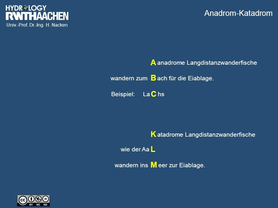Univ.-Prof. Dr.-Ing. H. Nacken Beispiel: Lahs wandern zumach für die Eiablage.