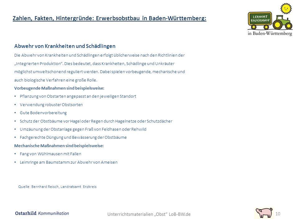 """10 Zahlen, Fakten, Hintergründe: Erwerbsobstbau in Baden-Württemberg: Abwehr von Krankheiten und Schädlingen Die Abwehr von Krankheiten und Schädlingen erfolgt üblicherweise nach den Richtlinien der """"Integrierten Produktion ."""