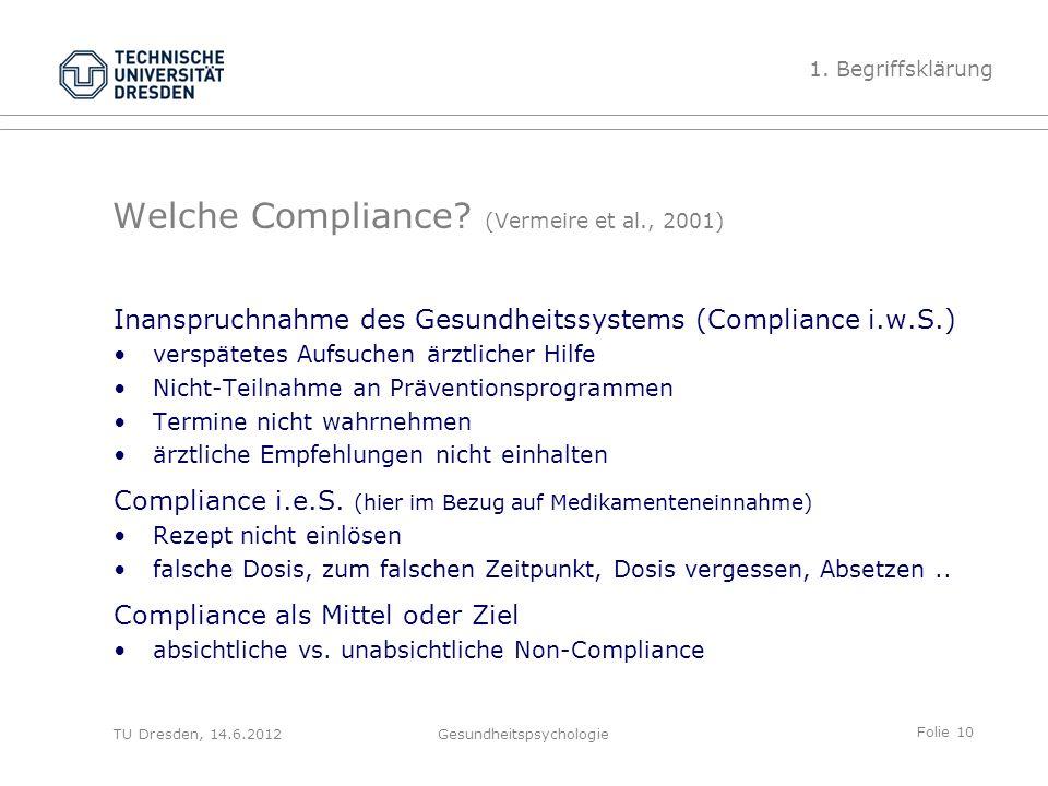 Folie 10 TU Dresden, 14.6.2012Gesundheitspsychologie Welche Compliance? (Vermeire et al., 2001) Inanspruchnahme des Gesundheitssystems (Compliance i.w