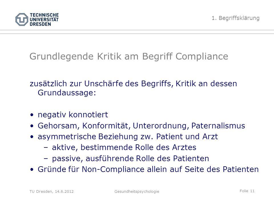 Folie 11 TU Dresden, 14.6.2012Gesundheitspsychologie Grundlegende Kritik am Begriff Compliance zusätzlich zur Unschärfe des Begriffs, Kritik an dessen