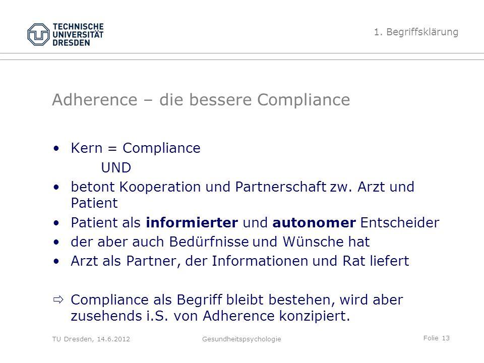 Folie 13 TU Dresden, 14.6.2012Gesundheitspsychologie Adherence – die bessere Compliance Kern = Compliance UND betont Kooperation und Partnerschaft zw.