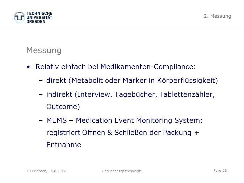 Folie 19 TU Dresden, 14.6.2012Gesundheitspsychologie Messung Relativ einfach bei Medikamenten-Compliance: –direkt (Metabolit oder Marker in Körperflüs