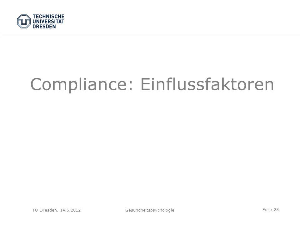 Folie 23 TU Dresden, 14.6.2012Gesundheitspsychologie Compliance: Einflussfaktoren