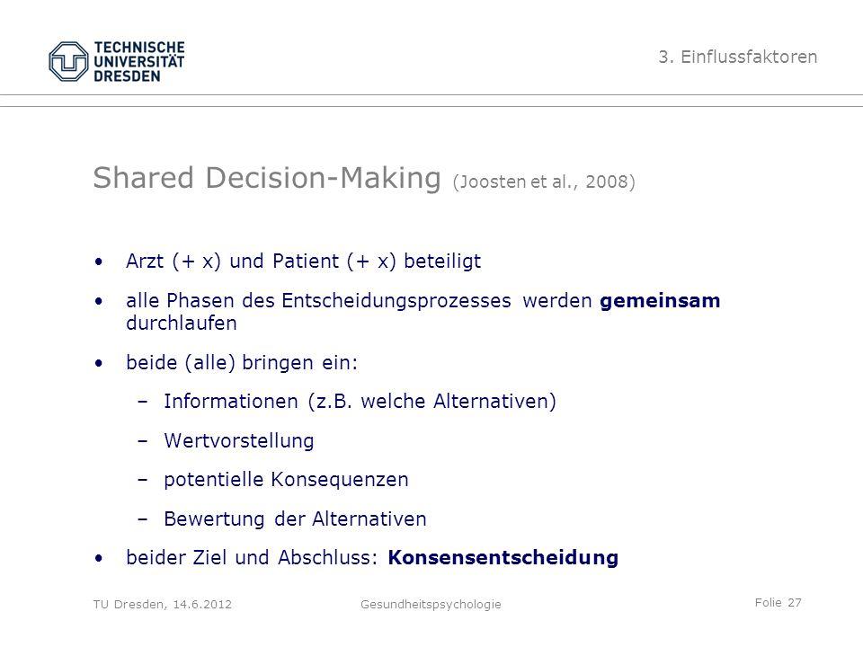 Folie 27 TU Dresden, 14.6.2012Gesundheitspsychologie Shared Decision-Making (Joosten et al., 2008) Arzt (+ x) und Patient (+ x) beteiligt alle Phasen des Entscheidungsprozesses werden gemeinsam durchlaufen beide (alle) bringen ein: –Informationen (z.B.