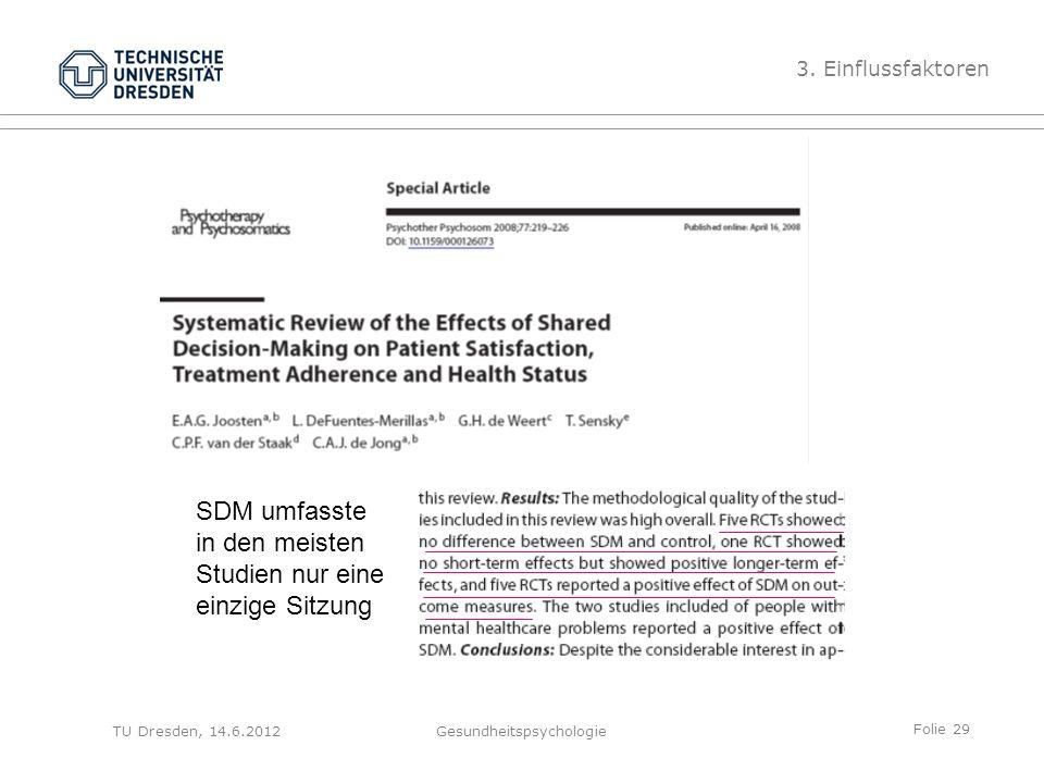 Folie 29 TU Dresden, 14.6.2012Gesundheitspsychologie 3. Einflussfaktoren SDM umfasste in den meisten Studien nur eine einzige Sitzung