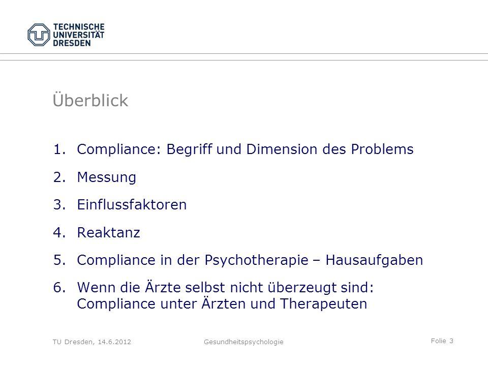Folie 3 TU Dresden, 14.6.2012Gesundheitspsychologie Überblick 1.Compliance: Begriff und Dimension des Problems 2.Messung 3.Einflussfaktoren 4.Reaktanz