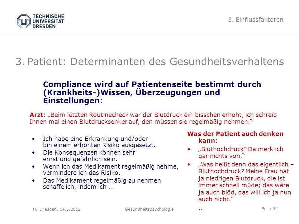 Folie 34 TU Dresden, 14.6.2012Gesundheitspsychologie 3.Patient: Determinanten des Gesundheitsverhaltens Compliance wird auf Patientenseite bestimmt du