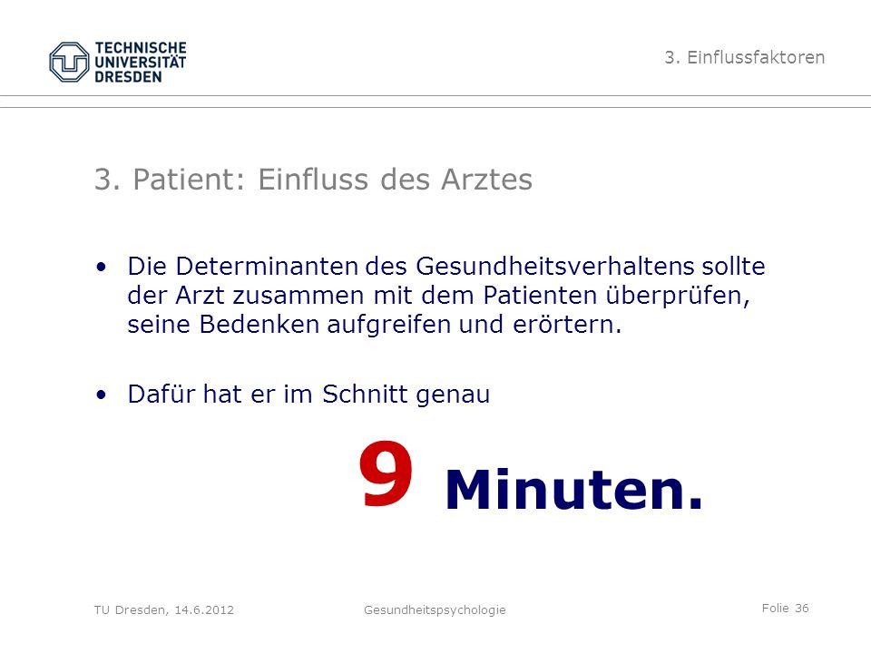 Folie 36 TU Dresden, 14.6.2012Gesundheitspsychologie Die Determinanten des Gesundheitsverhaltens sollte der Arzt zusammen mit dem Patienten überprüfen, seine Bedenken aufgreifen und erörtern.