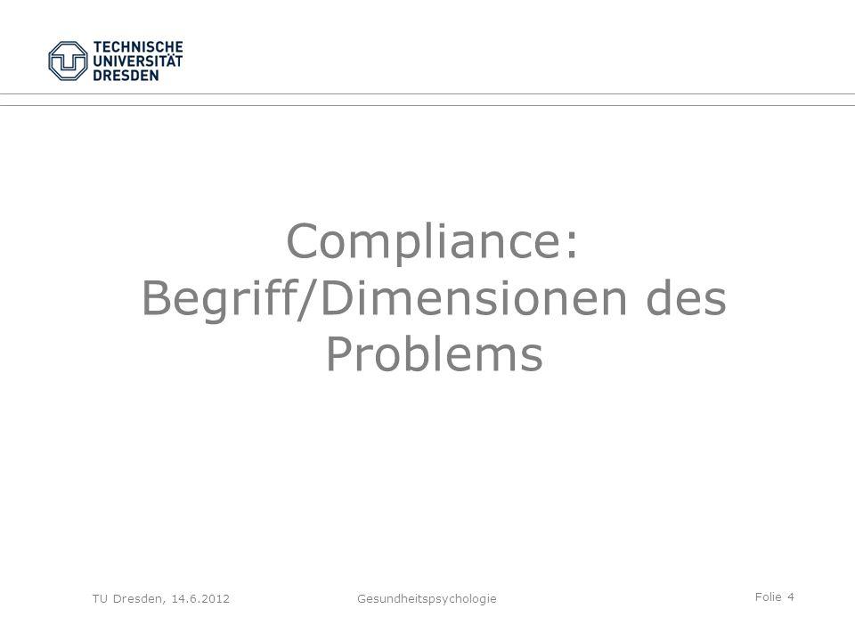 Folie 4 TU Dresden, 14.6.2012Gesundheitspsychologie Compliance: Begriff/Dimensionen des Problems