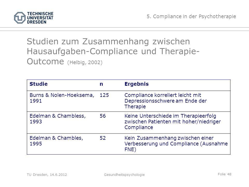 Folie 48 TU Dresden, 14.6.2012Gesundheitspsychologie Studien zum Zusammenhang zwischen Hausaufgaben-Compliance und Therapie- Outcome (Helbig, 2002) St