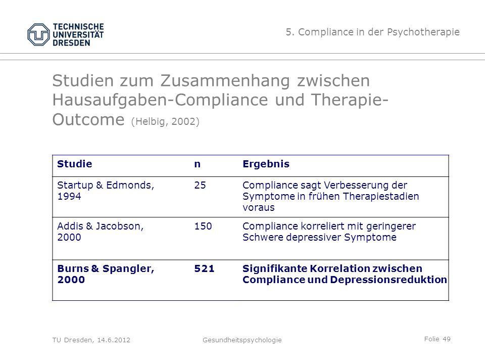 Folie 49 TU Dresden, 14.6.2012Gesundheitspsychologie Studien zum Zusammenhang zwischen Hausaufgaben-Compliance und Therapie- Outcome (Helbig, 2002) St