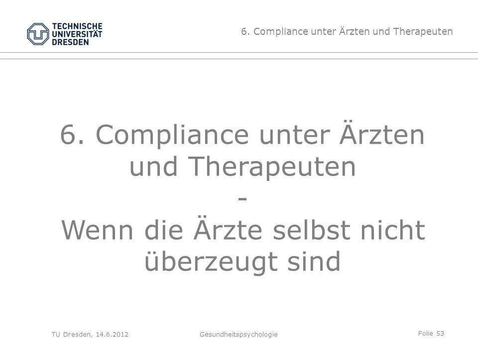 Folie 53 TU Dresden, 14.6.2012Gesundheitspsychologie 6. Compliance unter Ärzten und Therapeuten - Wenn die Ärzte selbst nicht überzeugt sind 6. Compli