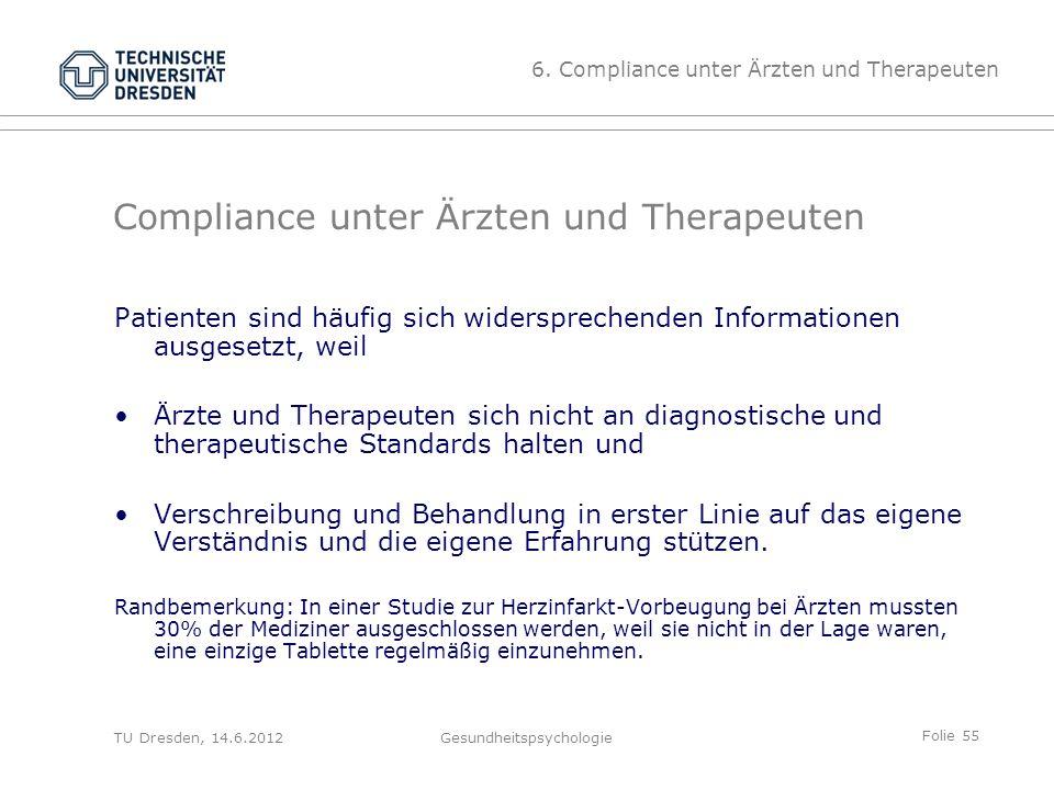 Folie 55 TU Dresden, 14.6.2012Gesundheitspsychologie Compliance unter Ärzten und Therapeuten Patienten sind häufig sich widersprechenden Informationen