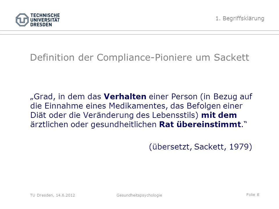 """Folie 8 TU Dresden, 14.6.2012Gesundheitspsychologie Definition der Compliance-Pioniere um Sackett """"Grad, in dem das Verhalten einer Person (in Bezug a"""