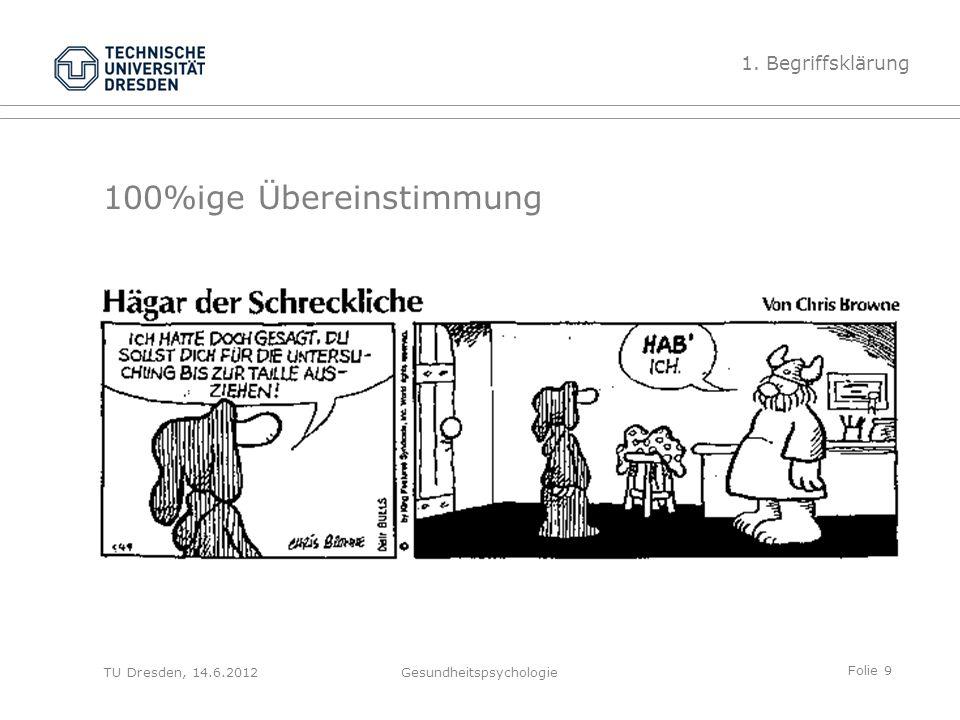 Folie 9 TU Dresden, 14.6.2012Gesundheitspsychologie 100%ige Übereinstimmung 1. Begriffsklärung