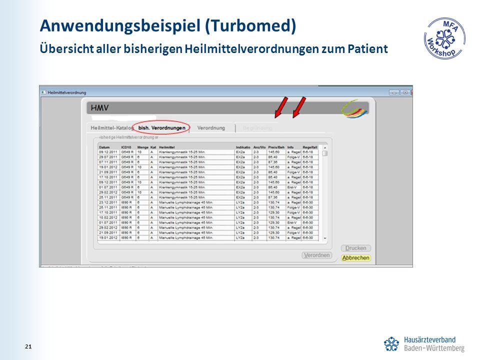 Anwendungsbeispiel (Turbomed) Übersicht aller bisherigen Heilmittelverordnungen zum Patient 21