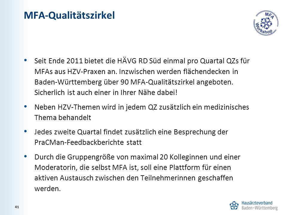 MFA-Qualitätszirkel Seit Ende 2011 bietet die HÄVG RD Süd einmal pro Quartal QZs für MFAs aus HZV-Praxen an.