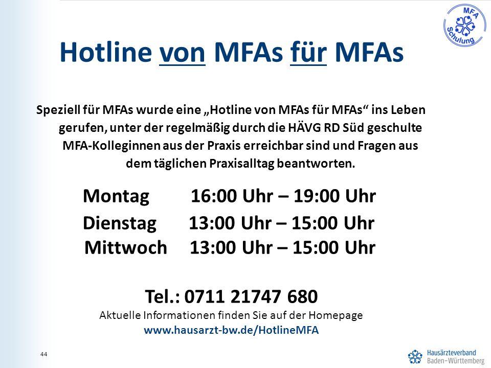 """44 Hotline von MFAs für MFAs Speziell für MFAs wurde eine """"Hotline von MFAs für MFAs ins Leben gerufen, unter der regelmäßig durch die HÄVG RD Süd geschulte MFA-Kolleginnen aus der Praxis erreichbar sind und Fragen aus dem täglichen Praxisalltag beantworten."""