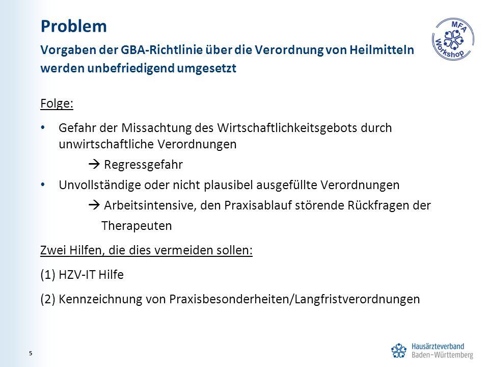 Problem Folge: Gefahr der Missachtung des Wirtschaftlichkeitsgebots durch unwirtschaftliche Verordnungen  Regressgefahr Unvollständige oder nicht plausibel ausgefüllte Verordnungen  Arbeitsintensive, den Praxisablauf störende Rückfragen der Therapeuten Zwei Hilfen, die dies vermeiden sollen: (1) HZV-IT Hilfe (2) Kennzeichnung von Praxisbesonderheiten/Langfristverordnungen Vorgaben der GBA-Richtlinie über die Verordnung von Heilmitteln werden unbefriedigend umgesetzt 5