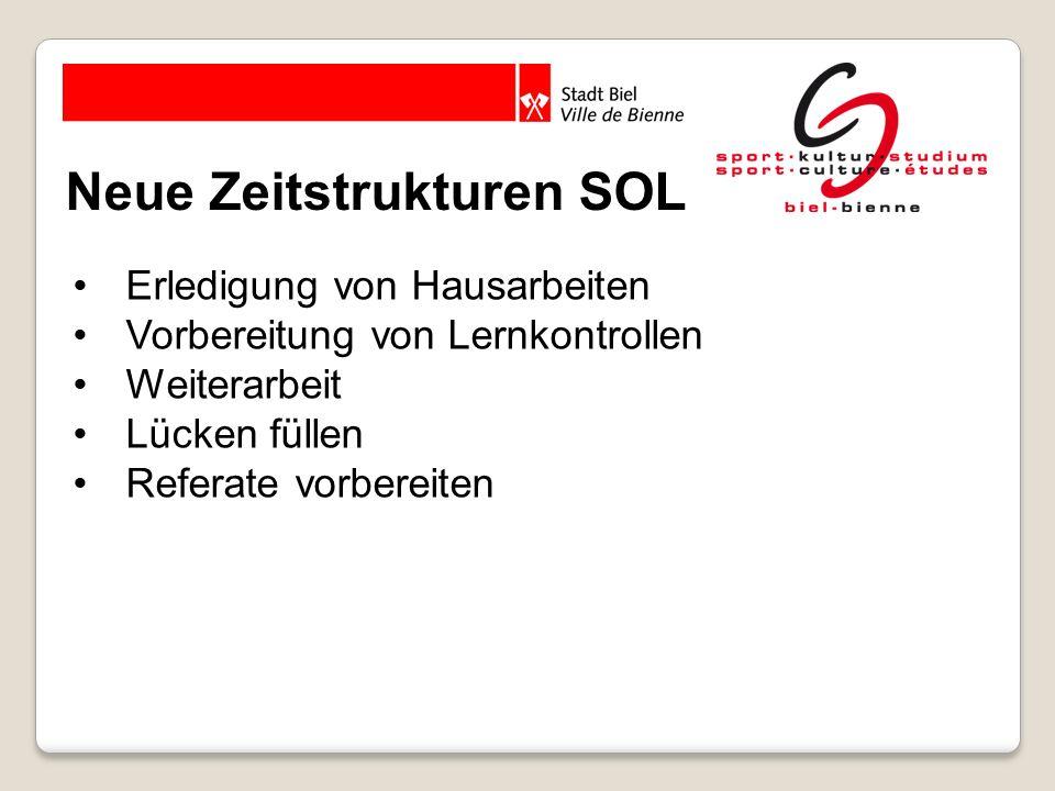 Organisation SOL 1 Lektion ILF = 2 Lektionen SOL Pro Klasse 3 mal pro Woche Täglich 8 bis 10 SOL Lektionen, davon 1 PC-Raum