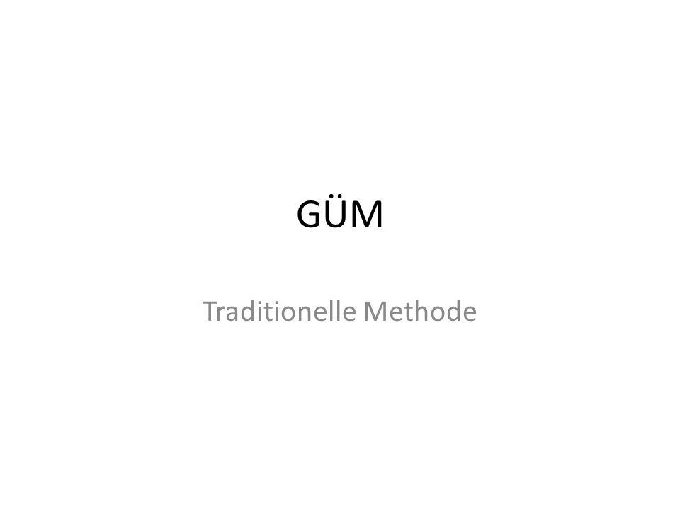 GÜM » Der Ursprung der tradidionellen Methode, in Deutschland als Grammatik- Übersetzungsmethode (GÜM) bekannt, ist der Lateinunterricht, wobei Latein als die Sprache der Kultivierten gilt.