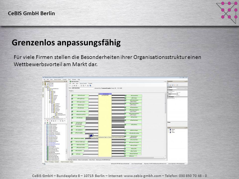 CeBIS GmbH – Bundesplatz 8 – 10715 Berlin – Internet: www.cebis-gmbh.com – Telefon: 030 850 70 48 - 0 CeBIS GmbH Berlin Updatefähig trotz grenzenloser Anpassbarkeit Dank der ausgefeilten Package-Architektur laufen Ihre individuellen Anpassungen auch nach dem Einspielen neuer Software-Releases problemlos weiter.