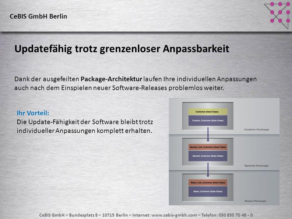 CeBIS GmbH – Bundesplatz 8 – 10715 Berlin – Internet: www.cebis-gmbh.com – Telefon: 030 850 70 48 - 0 CeBIS GmbH Berlin Updatefähig trotz grenzenloser