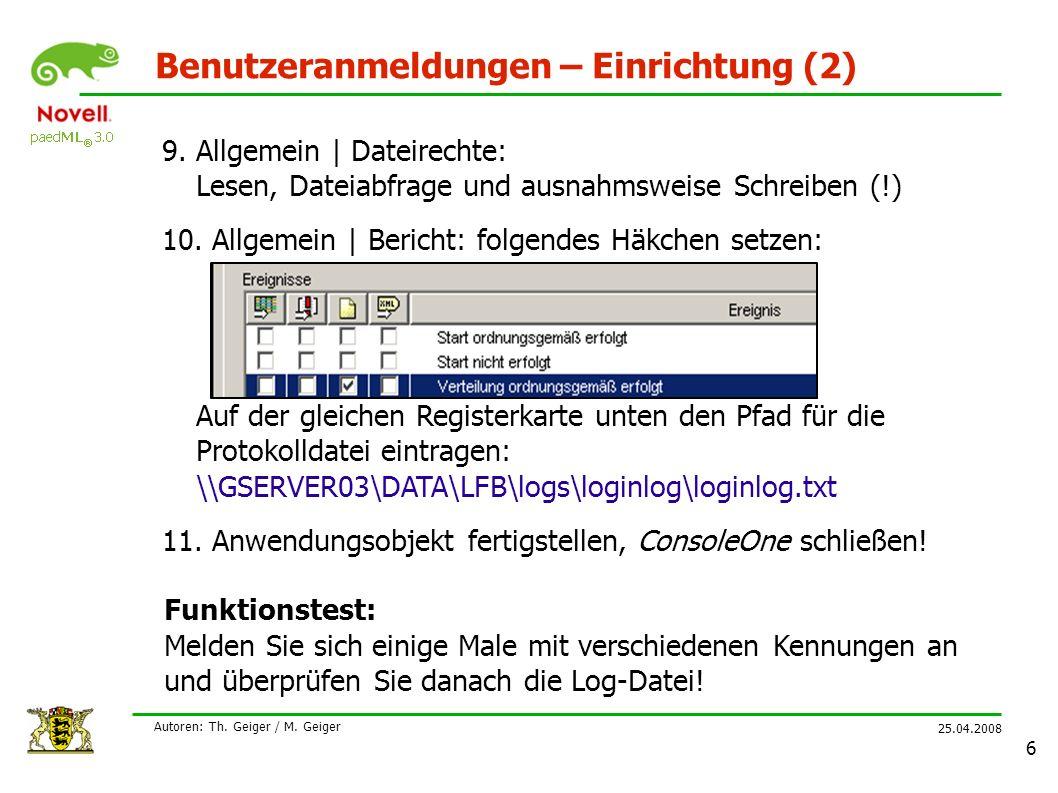 25.04.2008 Autoren: Th. Geiger / M.