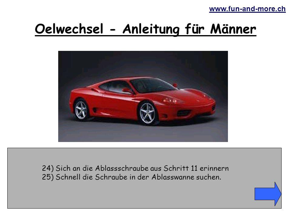 www.fun-and-more.ch 24) Sich an die Ablassschraube aus Schritt 11 erinnern 25) Schnell die Schraube in der Ablasswanne suchen.