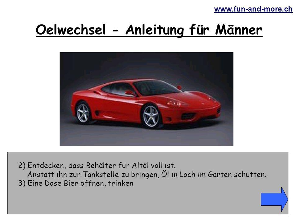 www.fun-and-more.ch 4) Fahrzeug aufbocken.Vorher 30 Minuten lang Klötze dafür suchen.