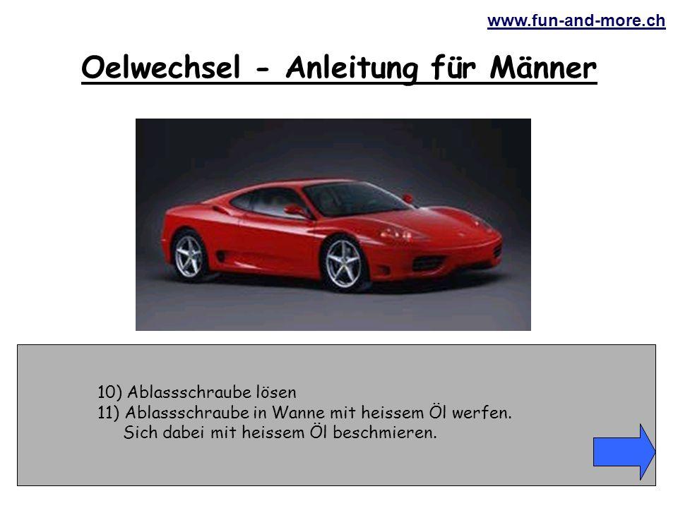 www.fun-and-more.ch 31) Beim Anziehen der Ablassschraube mit dem Schraubenschlüssel abrutschen, die Fingerknöchel an der Karosserie anschlagen.